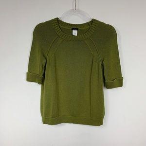 J. Crew Green Shortcut Sweater